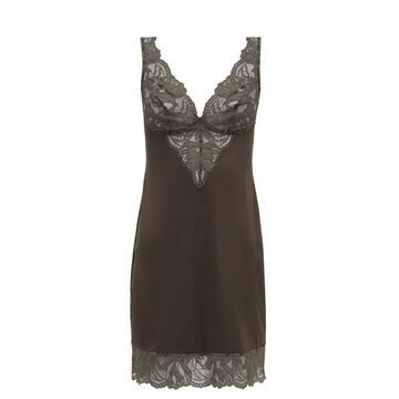 Hanro - Lynn Lace-trimmed Jersey Slip Dress - Womens - Dark Grey