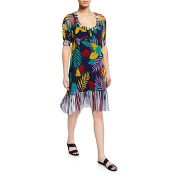 Patchwork Tulle Coverup Dress