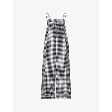 Whistles Womens Black and White Penny Gingham Cotton Jumpsuit 10