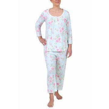Miss Elaine Floral-Print Cropped Pajama Pants Set