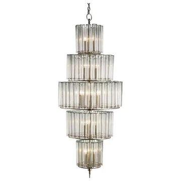 Currey and Company 9311 Bevilacqua 18 Light 5 Tier Chandelier - Silver