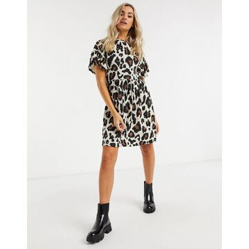 New Look ruffle sleeve mini dress in brown animal print