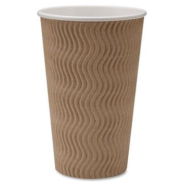 Rippled Hot Cup, 16 OZ, Brown, Case of 500