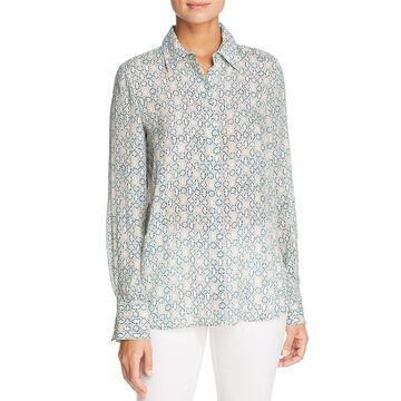 Lafayette 148 New York Womens Scottie Silk Printed Blouse