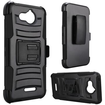 Insten Dual Layer Hybrid Stand Hard Snap-in Holster Case Cover For Alcatel Tetra - Black