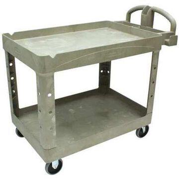 Rubbermaid Commercial Heavy-Duty Utility Cart, Two-Shelf, 25.9w x 45.2d x 32.2h, Beige -RCP452088BG