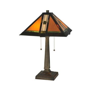Meyda Tiffany 119654 Parquet Mission Table Lamp, Antique Finish