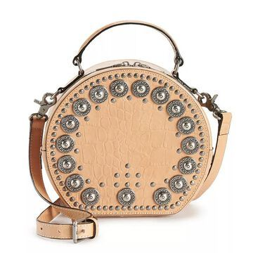 AmeriLeather Jetta Embellished Leather Crossbody Handbag, Brown