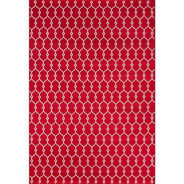 Momeni Baja 9 x 13 Red Outdoor Trellis Area Rug   BAJA0BAJ-2RED860D