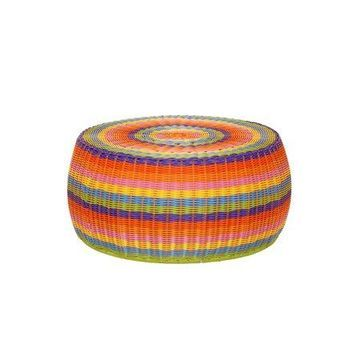 Household Essentials Colorful Resin Wicker Low Storage Side Table