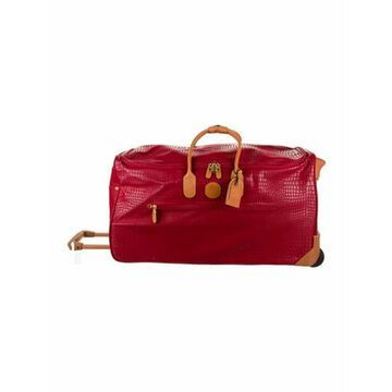 Crimson Crocodile-Embossed Leather Suitcase w/ Tags gold