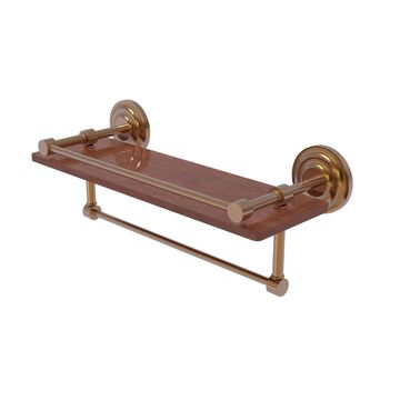 QN-1TB-16-GAL-IRW-BBR Que New Collection 16 in. IPE Ironwood Shelf with Gallery Rail & Towel Bar, Brushed Bronze