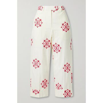 SIMONE ROCHA - Cropped Embroidered Cotton-poplin Straight-leg Pants - White