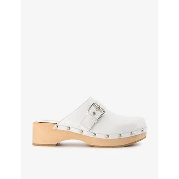 Dune Womens White-leather Gizeles Buckle-detail Leather Clogs 6