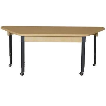 Wood Designs Mobile Trapezoidal High Pressure Laminate Table with Adjustable Legs 14-19 (HPL3060TA12 | Quill