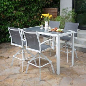 Hanover Naples 5-Piece Outdoor High-Dining Set with 4 Swivel Bar Chairs and a Glass-Top Bar Table, White