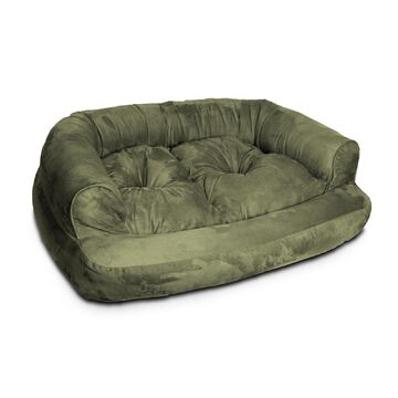 Snoozer Luxury Micro Suede Overstuffed Pet Sofa in Olive