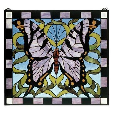 Meyda Tiffany 46464 Butterfly Stained Glass Window, Copperfoil Finish