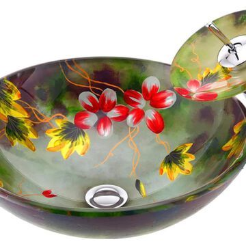 ANZZI Panye Hand Painted Mural Tempered Glass Vessel Round Bathroom Sink with Faucet (Drain Included) (16.5-in x 16.5-in) | LS-AZ8216