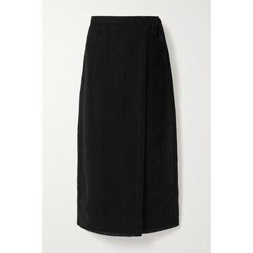 Lisa Marie Fernandez - Linen-blend Gauze Wrap Midi Skirt - Black