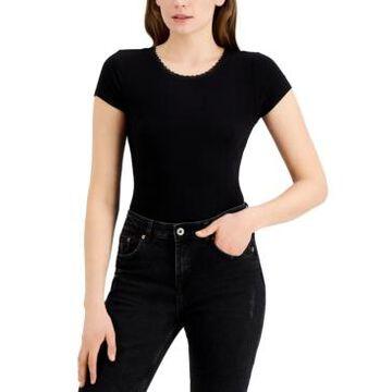 Self Esteem Juniors' Rib-Knit Lace-Trim Bodysuit