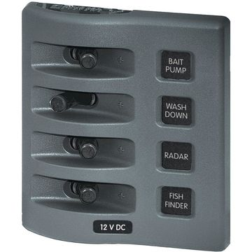 Blue Sea Systems 4305-BSS WeatherDeck 12V DC Waterproof Switch Panel - 4 Position