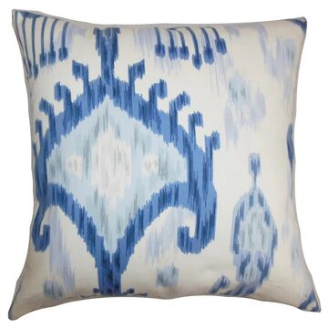 Talisha Ikat Floor Pillow Blue White