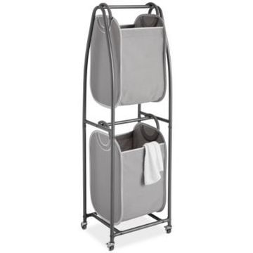 Neatfreak 2-Tier Rolling Vertical Laundry Sorter with Hamper Totes & Everfresh Odor Control