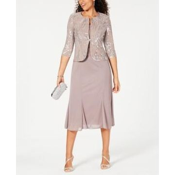 Alex Evenings Petite Sequined A-Line Midi Dress and Jacket