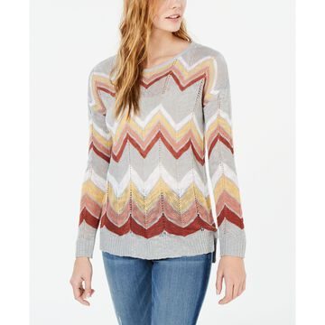 Juniors' Chevron Pointelle Sweater