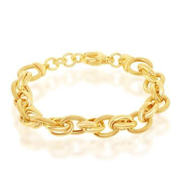 La Preciosa Sterling Silver Italian 14K Gold Overlay High Polish Multi-Oval Rope Design 7.5'' Bracelet