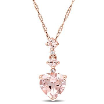 Miadora Signature Collection 14k Rose Gold Morganite and Diamond Accent Graduated Tiered Heart Necklace - Pink