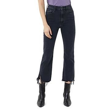3x1 Empire Frayed Crop Flare Jeans in Starling