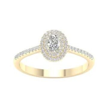 3/8ct TDW Diamond Double Halo Ring in 10k Gold by De Couer