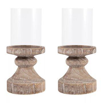 Pomeroy Timberline Small Wood Pillar Candle Holder 2-piece Set