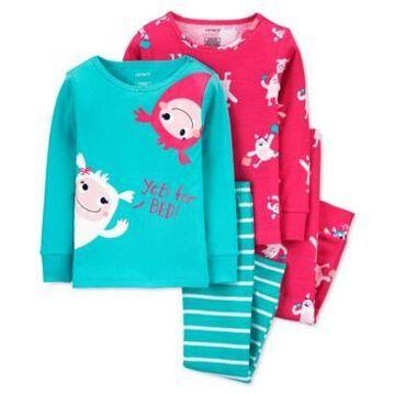 Carter's Baby Girls 4-Pc. Yeti Cotton Pajamas