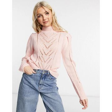 QED London pointelle sweater in rose pink