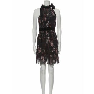 Floral Print Mini Dress Black