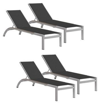 Oxford Garden Argento Armless Chaise Lounge with Tekwood Vintage Side Rails - Ninja Sling (Set of 4) (Black)