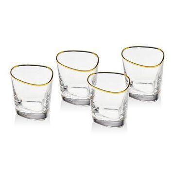 Godinger Cosmo Set Of 4 Gold Banded Glasses
