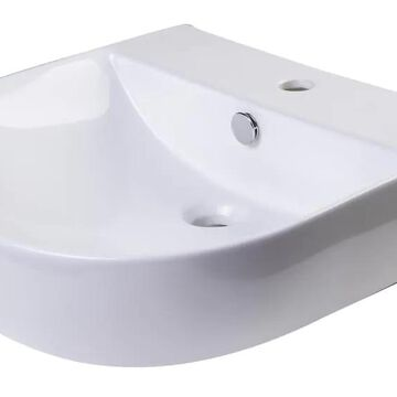 ALFI brand White Porcelain Wall-Mount Oval Bathroom Sink with Overflow Drain (20.5-in x 21-in) | AB110