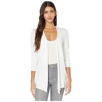 Majestic Filatures Linen/Elastane Cardigan (Blanc) Women's Sweater