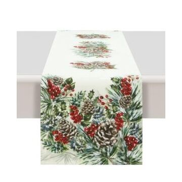 """Laural Home Winter Garland Table Runner - 13""""x 90"""""""