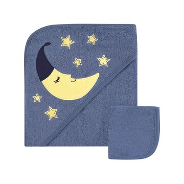 Hudson Baby Hooded Baby Towels Moon - Hooded Towel and Washcloth Moon