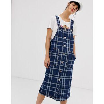Monki checked denim pinafore dress in blue-Multi