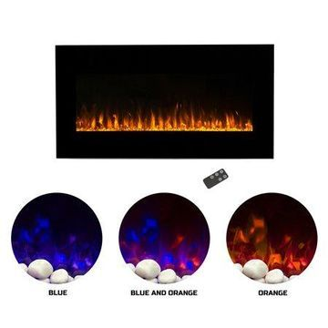 Northwest 36 inch Wall Mounted Electric Fireplace, LED Fire and Flame Effect