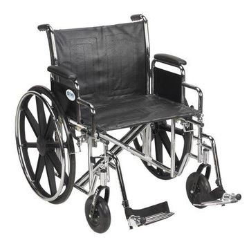 Drive Medical Sentra EC Heavy Duty Wheelchair, Detachable Desk Arms, Swing away Footrests, 22