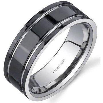 Oravo Men's Black Comfort Fit Titanium Wedding Band Ring, 8mm