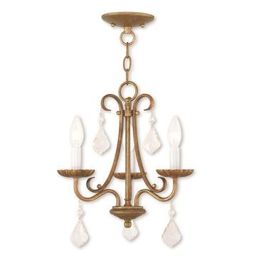 Livex Lighting Daphne 3-Light Antique Gold Leaf Traditional Chandelier   40873-48