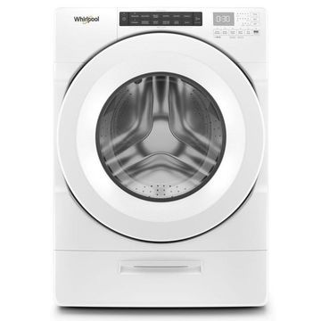 Whirlpool 4.5-cu ft Closet-Depth High-Efficiency Front Load Washer with Load and Go Dispenser - White Stainless Steel